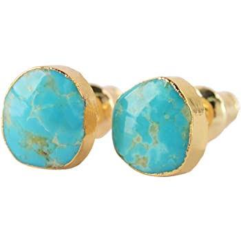 ZENGORI Turquoise Earrings Post Stud Natural Stone Jewelry for Women 1 Pair G1017