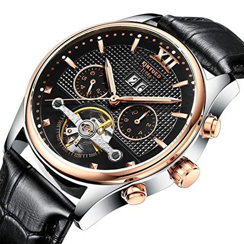 QZPM Hombre Automático Mecanico Relojes Acero Inoxidable Impermeable Analogico Militar Cronógrafo Moda Cuero Business Relojes,Negro
