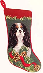 Tri Color Cavalier King Charles Spaniel Dog Needlepointクリスマスストッキング[Amazon/Elegant decor, Ltd.]