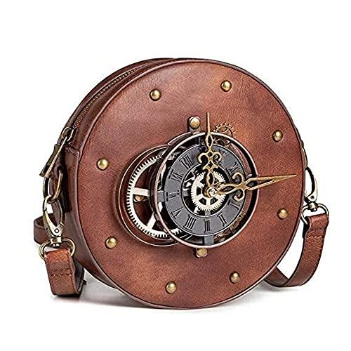 YPFALP Bolsos de Mujer Gótico Steampunk Crossbody Bolsa Medieval De Época Ronda De Engranaje del Reloj Tacos De PU Bolso De Cuero De La Taleguilla del Hombro del Cubo del Punk Bolsa Bolso de Mano
