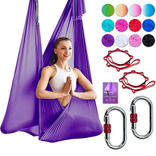 DASKING Deluxe 5m/Set Yoga Swing Aerial Yoga Hammock kit with Daisy Chains O-Ring, Fabric & Guide (Dark Purple-1)