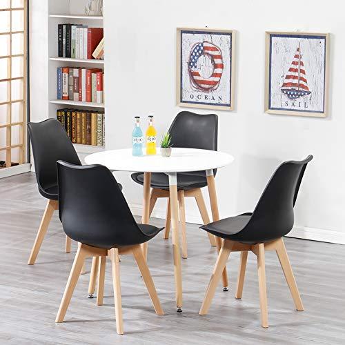 Uderkiny A Tavolo da Pranzo Rotondo e 4 sedie in Stile Nordico, Piano in MDF e sedie in Stile...