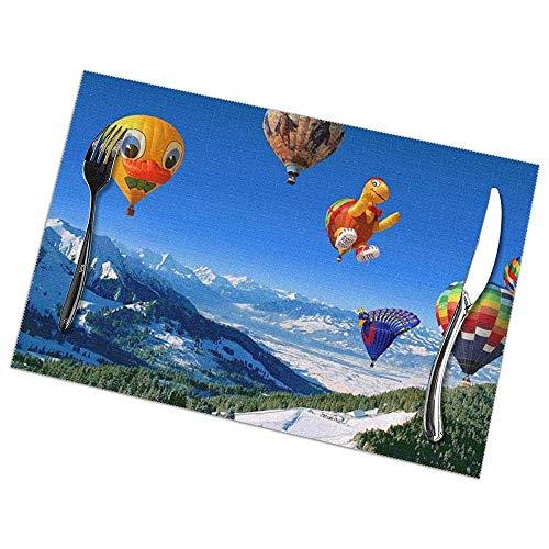 Water-wave Hot Air Balloon Print Placemats Set van 6 Makkelijk te reinigen Duurzame Antislip Keuken Tafelmatten