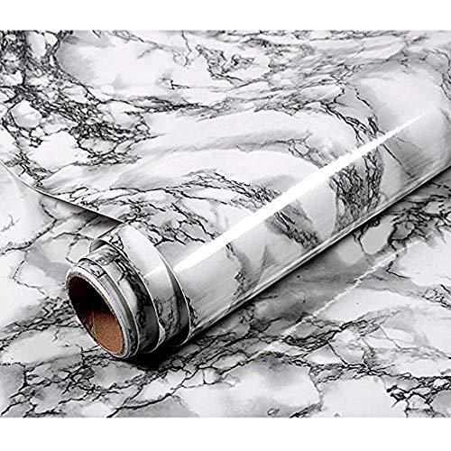 ZTKBG Décoratif Auto-adhésif de Papier de Contact de marbre for des Meubles d'armoire de Cuisine de comptoirs par Le Petit Pain Noir/Blanc imperméable rénové de Granit de PVC