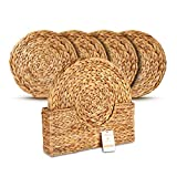 Wovanna Woven Placemats for Dining Table - Set of 4 Adorable Thick Rustic Round Kitchen Placemats with Decorative Tall Holder – All Natural Wicker Tablemats Hand-Braided from Water Hyacinth, 15'