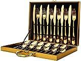 Juego de cubiertos de acero inoxidable 304 cubertería de 24 piezas Set de cubertería de cuchillo, tenedor, cuchara, cucharadita, vajilla con caja de regalo, multicolor y dorado