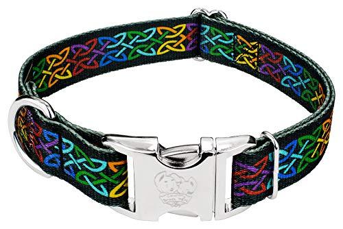 Country Brook Petz - Premium Celtic Pride Dog Collar - Irish Pride Collection with 2 Lucky Designs (1 Inch, Medium)
