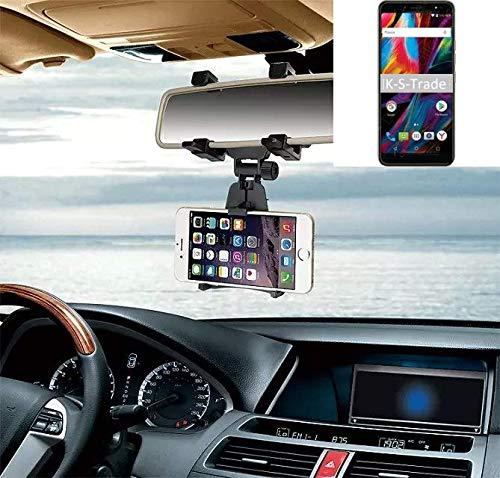 K-S-Trade Kompatibel Mit BQ Mobile BQ-6001L Jumbo Smartphone Halterung Rückspiegel Halterung Schwarz Auto Halterung Kompatibel Mit BQ Mobile BQ-6001L Jumbo Spiegel KFZ Halter