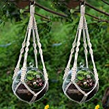 YCDC Natural Manual Knitted Cotton Macrame Cord Plant Hanger, Hanging Basket Rope with Ring 20'/51cm 2Pcs Set