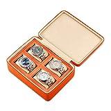 Organizador de caja de reloj portátil para hombres, mujeres, 4 ranuras, caja de almacenamiento de reloj, relojes, estuche de viaje, diseño de cremallera, cuero de PU (color: naranja) Harmonious home