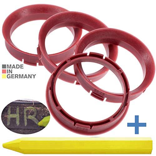 4X Anelli di centraggio Rosso 66,45 mm x 57,1 mm + 1x Pastello per Gomma Pneumatici in Verde Prodotto in Germania