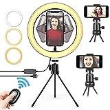 qOXOp LED-Selfie-Ringlicht mit Handy Stativ und Telefonhalter und Fernbedienung, 3 Lichtmodi +10 Helligkeitsstufen, 10-Zoll-Make-up-Ringlicht für YouTube-Video, Vlog und Live-Streaming