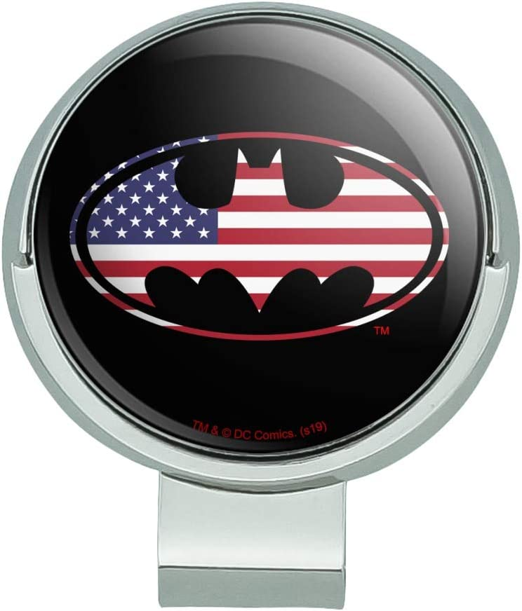 GRAPHICS MORE Shipping included free shipping Batman USA American Flag Cl Golf Shield Hat Logo