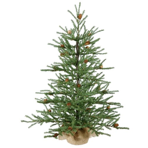 Vickerman 36' Carmel Pine Artificial Christmas Tree with Cones and Burlap Base