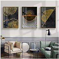 BD-Boombdl キャンバス絵画壁アート抽象ブラックゴールドウッドゴールデンライン壁画背景ホームWps装飾40X50cmX3フレームなし