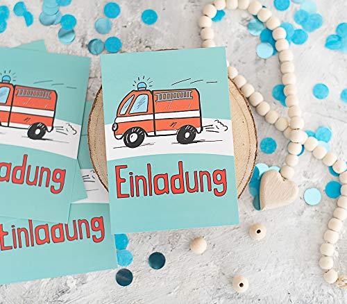 Deingastgeschenk 8 Stück Einladungen Kindergeburtstag Feuerwehr - Einladungskarte für Junge