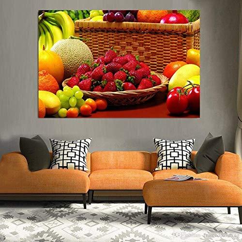 GJQFJBS Creative Art Toile Peinture À l'huile Impression Affiche Fruits Alimentaire Toile Murale Restaurant Cuisine Décoration de La Maison A5 70x100 cm