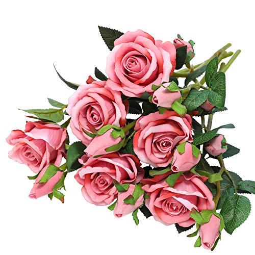Hawesome terciopelo rosas artificiales, 6 piezas, 37cm, 6 flores y 12 capullos, blanco, rojo y rosa