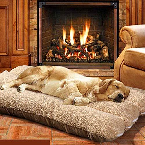 Cama ortopédica para mascotas, gran tamaño de 2 lados de felpa suave para dormir para mascotas, colchón, funda lavable, almohada para perro, cesta de perro caliente para perros grandes
