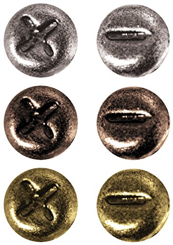 Metal Mini Fasteners by Tim Holtz Idea-ology, 99 per Pack, 1/4 Inch, Antique Finishes, TH92790