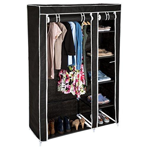 TecTake Kleiderschrank aus Stoff Faltschrank Schrank Textilschrank mit Kleiderstange & 5 Fächern   107 x 175 x 45 cm - Diverse Farben - (Schwarz   Nr. 402530)