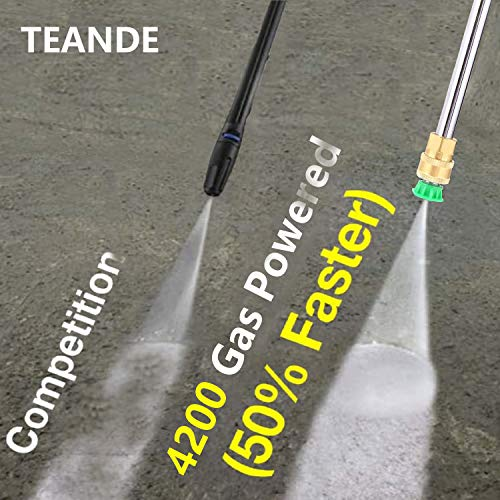 TEANDE 4200PSI Gas Pressure Washer 2.8GPM Power Washer 212CC Gas Pressure Washer Powered, High-Pressure Hose 5 Nozzles (Black)