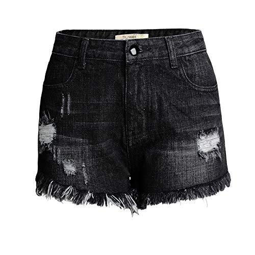 Pantalones Cortos de Mezclilla deshilachados Retro de Verano para Mujer Pantalones Cortos de Mezclilla Estampados Personalizados de Cintura Media Alta 32