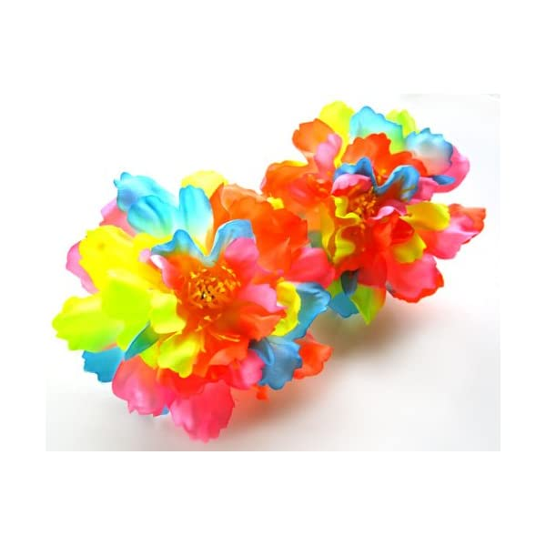 (4) Silk Neon Rainbow Peony Flower Heads – 4″ – Artificial Flowers Peonies Head Fabric Floral Supplies Wholesale Lot for Wedding Flowers Accessories Make Bridal Hair Clips Headbands Dress