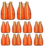 SIFE High Visibility Reflective Safety Vest with 1 Inch Reflective Strips,Made from Breathable and Neon Orange Mesh Fabric,Universal Size,10 pack