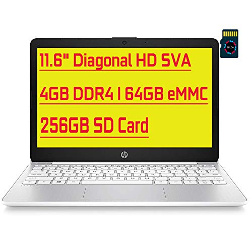 HP Stream Premium Laptop I 11.6' Diagonal HD SVA Anti-Glare Display I Intel Celeron N4000 I 4GB DDR4 64GB eMMC + 256GB SD Card I USB-C HDMI Wifi5 Bluetooth Webcam Win 10 + Delca 32GB Micro SD Card