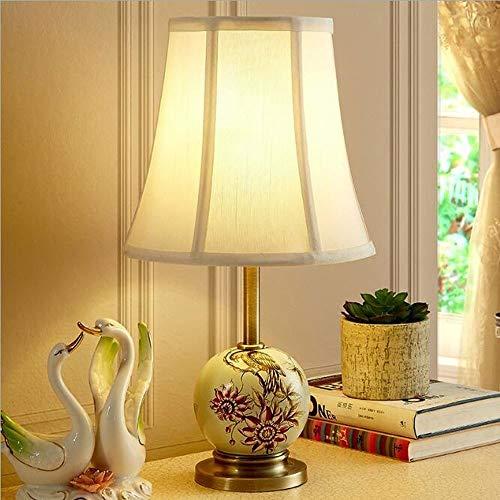 Lámpara de Mesa de Iluminación Decorativa Interior Cerámica de estilo moderno Pantalla de tela de cuerpo ligero Lámpara de pájaro creativa pintada a mano Dormitorio Lámpara de noche Sala de estar Lámp