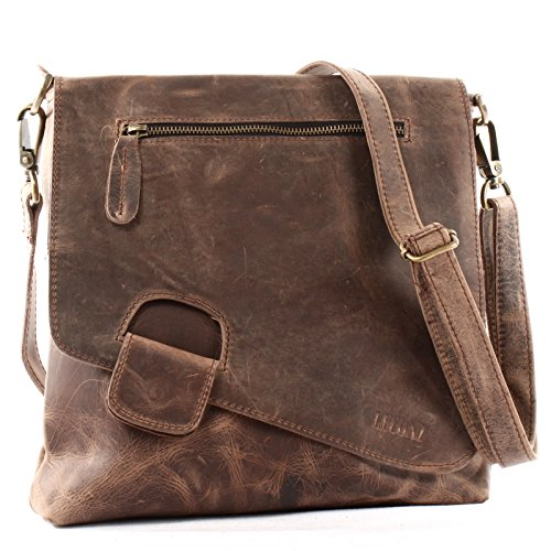 LECONI Umhängetasche Damen-Tasche Crossbag Rinds-Leder Natur Schultertasche Vintage-Look Ledertasche Frauen + Herren Handtasche aus Echt-Leder 29x29x6cm schlamm LE3027-wax