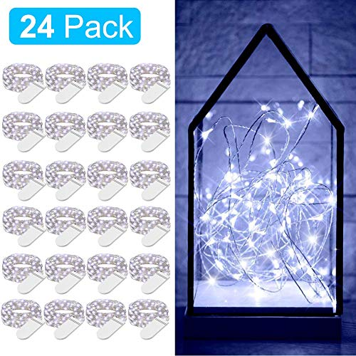 Govee Fairy Lights, 24Pack Starry String Lights Battery Operated, 3.3 Feet 20 LEDs Cool White Waterproof Flexible Copper Wire Fairy String Lights for Bedroom Wedding Christmas Festival Decoration