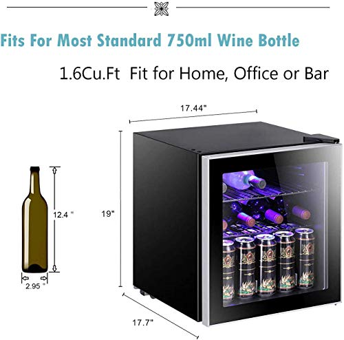 Antarctic Star 1.6cu.ft Wine Cooler/Cabinet Beverage Refrigerator Small Mini Red & White Wine Cellar Beer Soda Clear Front Glass Door Counter Top Bar Fridge Quiet Operation Compressor Adjust Temperature Freestanding Black