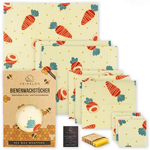 Crimaldo 9er Set Wachstücher für Lebensmittel | Beeswax wrap | Wachs Frischhaltefolie, Bio Bee Wrap/Wax Tuch - Bienenwachs Folie/Bienenwachstücher mit Wachsblock u. eBook als Plastkfolie Ersatz