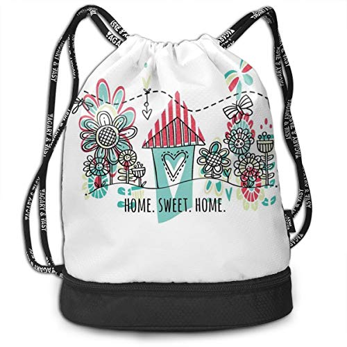 NoBrand Drawstring Backpack String Bag Casual, D2384 Doodle Style House With Heart Shape And Garden Blooming Flowers Butterflies