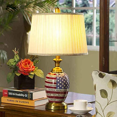 JIAHONG Lámpara de mesa de Personalidad simple Pastoral americana de cerámica lámparas de mesa, lámpara de cabecera creativo dormitorio, Moderno pequeñas lámparas de mesa, lectura regulable luz de la