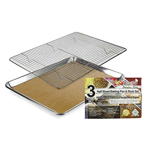 KITCHENATICS 100% Stainless Steel Cooling & Baking Pan with Rack,Half Aluminum Cookie Sheet Pan Tray with Wire Roasting Rack, Heavy Duty FREE BONUS 100 Pcs. Pre-Cut, Unbleached, Brown Parchment Paper
