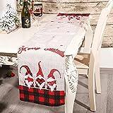 Soloplay - Camino de mesa de Navidad, mantel cuadrado de Navidad, diseño de reno y Papá Noel, 180 x 36 x 0,3 cm, camino de mesa de lino, color rojo y negro y blanco