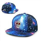 Rogerds Baseball Kappe für Herren/Damen,Sternenhimmel Mütze,Sternenhimmel Hut Smoking Skull Baseball Hat Adjustable Sun Cap Hip Pop Hat