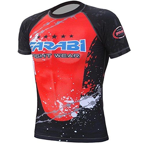 MMA Rash Guard Compression Top Gym Training Body Armour BJJ Base Layer by farabi (Samll)