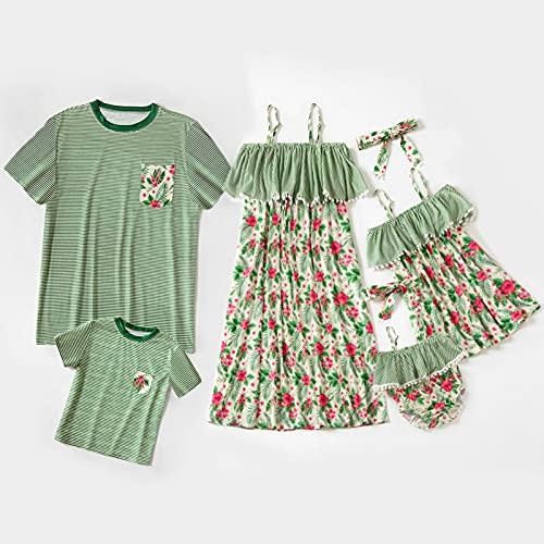 Mamma och jag Matchande Maxiklänning Far och sondräkt Herr T-shirt Familj Set Spagettirem Blommigtryckt Sommar Fritids Ärmlös lång klänning med pannband,Green,DadL