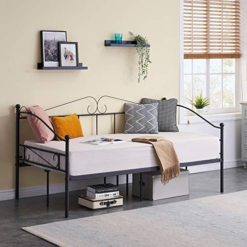SYMY Classic Twin Daybed Frame Metal Daybed with Headboard, Stable Steel Slats Support, Easy Assembly, Mattress Platform Bed Sofa for Living Room Guest Room (Black)