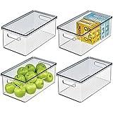 mDesign Juego de 4 Cajas organizadoras de plástico para Nevera – Recipiente para Guardar Alimentos con Tapa – Organizador para Nevera, Cocina y despensa Apto para Alimentos – Transparente/Gris
