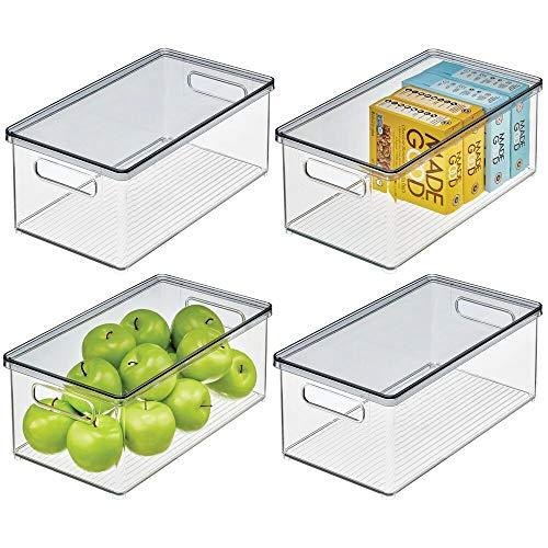 mDesign 4er-Set Kühlschrankbox – Kühlschrank Vorratsdose mit abnehmbarem Deckel – lebensmittelechte Aufbewahrungsbox aus Kunststoff für Küche und Speisekammer – durchsichtig/grau