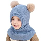 New Knit Hooded Scarf Kids Child with Mask Winter Warm Protection Ear Pom Pom Cap Scarves Sky Blue Hat Girth 48-54cm 2-5T