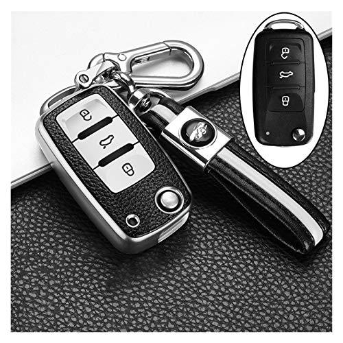 zc Cuero + TPU Cubierta de Claves de Coche APEDITADA para Volkswagen VW Polo TIPUAN Passat B5 B6 B7 Golf EOS Scirocco Jetta MK6 Octavia Accesorios (Color Name : A Silver Keychain)