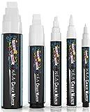 Liquid White Chalk Markers Pens - White Dry Erase Marker - Chalk Markers for Chalkboard Signs, Windows, Blackboard, Glass - 5 Various Sizes White 1mm, 3mm, 6mm, 10mm, 15mm