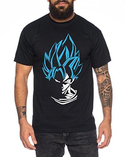 Super Son Goku Herren T-Shirt Goku Dragon Master Son Ball Vegeta Turtle Roshi Db, Farbe:Schwarz/Blau;Größe:XL