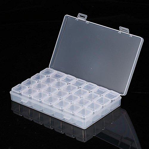 28 emplacements vide clair nail art décoration strass gemme boîte de rangement de conteneur de perles